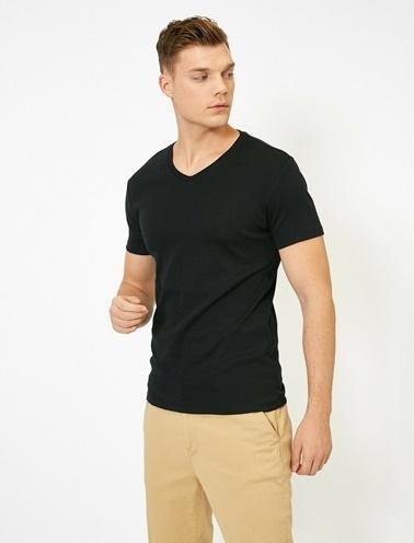 Koton V Yaka Likrali Esnek Kumasli Slim Fit T-Shirt Siyah